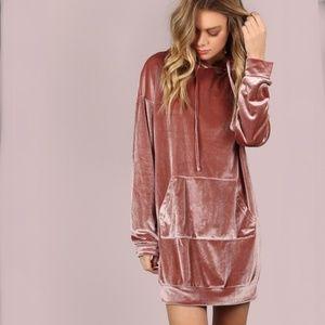 NWOT Mauve Velvet Hoodie Dress